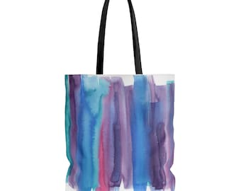 Brushed Watercolor, Tote Bag, Market Shopping Bag, Shopping Tote, Watercolor Design Tote, handbag, Hand Painted Design purse Tote bag