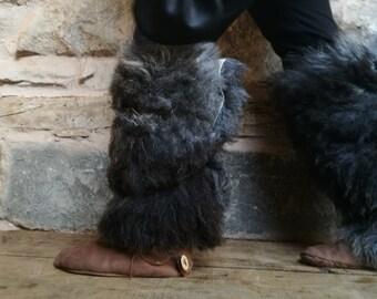 Viking Fur Leggings / Boot Covers Leg Warmers Pair