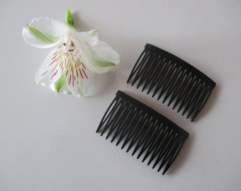 2 Combs hair accessory comb, wedding, plastic black or brown.