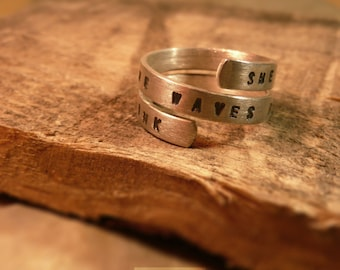 Spiral Quote Ring – Sterling Silver Hand Stamped