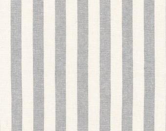 Robert Kaufman Essex Yarn Dyed Linen/Cotton Classic Wide Stripe in Steel - Half Yard