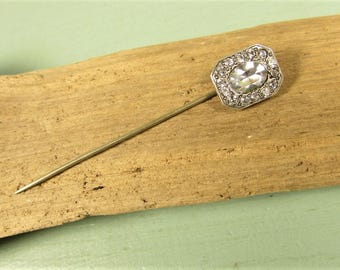 Art Deco Crystal Stick Pin - Vintage Sterling Silver Rhinestone GF Lapel