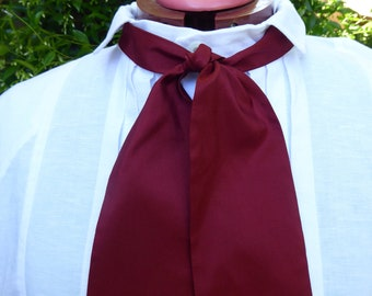 Deep red silk, silk cravat, 19th century style