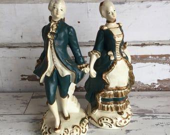 Vintage Chalkware Plaster Figurines Man Woman Colonial Lady and Gentleman