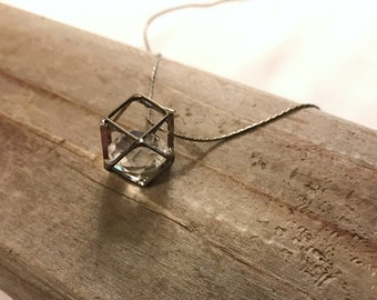 Geometric gunmetal necklace with clear rhinestone