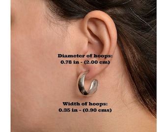 Sterling silver medium size hoop, wide hoops, matte stud earrings, simple thick hoop, plain earring, minimal jewelry, contemporary hoops