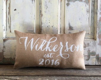 Pillow Cover   Name and Est date pillow   Burlap Pillow   Family name pillow   Date pillow   Wedding/Anniversary gift   Gift for mom