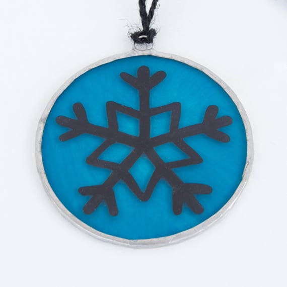 Blue Snowflake. Christmas glass ornament to hang on the Christmas tree, in the window, wall or ceiling. Stained glass Tiffany. Ready to ship