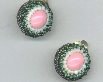 Clip on Earrings . Pink and Green . Beaded Earrings . Statement Earrings - Flowers in the Grass by enchantedbeads on Etsy