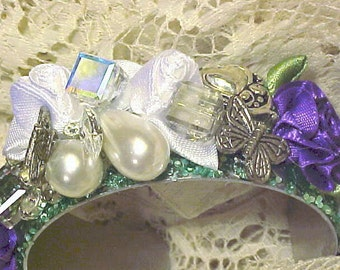 VICTORIAN-Style CUFF Bracelet with some ''VINTAGE'' Pieces--Gorgeous, Feminine and very Stylish