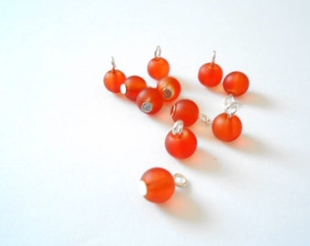 Orange-Red Frosted Glass Dangle Beads