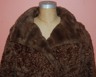 Vintage Faux Fur Persian Lamb and Mink Collar Coat Luxurious