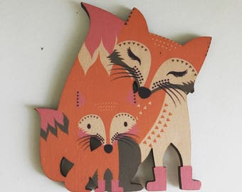 Fox momma and baby brooch