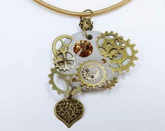 Necklace glamour steampunk with heart in bronze-Brown concrete jewelry on the Silk Ribbon unique bronze gears Brown gear concrete jewelry