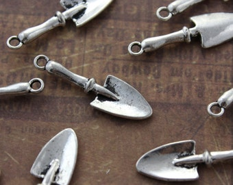 10 Trowel Shovel Charms Gardening Tools Pendants Antiqued Silver Double Sided 3D 9 x 22 mm