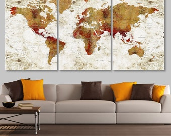 Large world map etsy world map canvas world map wall decor push pin travel map large world gumiabroncs Image collections