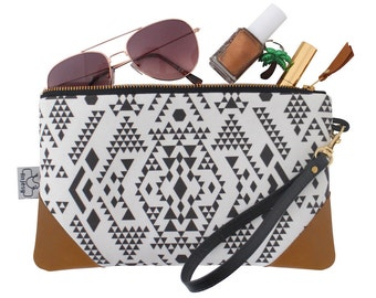Ethnic leather clutch with an original ANJESY design