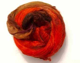 Hand-Dyed Silk Bricks A1 quality. 100% Silk Fiber known as Mulberry Silk for Felting, Spinning, Knitting, Orange,Brown Gold, Fiber Art.