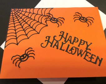 Handmade, Halloween Card, Smilimg Spiders, Spider Web, Skeleton, Happy Halloween, Orange, Black, White, Sizzix