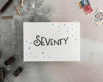 Seventy Letterpress Birthday Card
