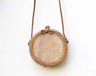 Round Rattan Crossbody Bag Personalized Leather Hand-bag Crossbody Customised Personalised Circle Travel Holiday Luxury Ata White Lining