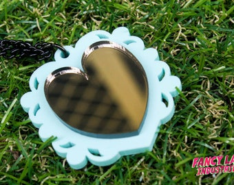 Mint and Bronze Mirror Ornate Heart Necklace, Steampunk Heart Necklace , Laser Cut Acrylic, Laser Cut Necklace, Laser Cut Jewellery