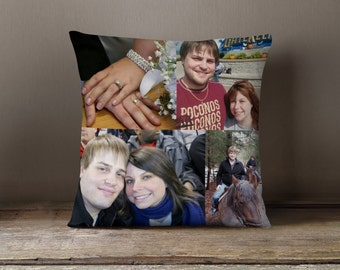 Photo Collage on Pillow With Wedding Vows Printed On Back