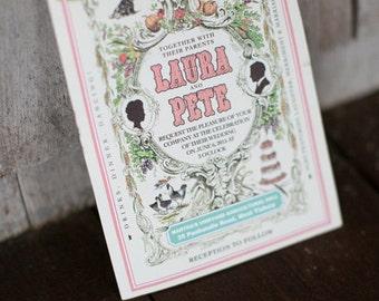 Farmer's Almanac Invitation, Rustic Wedding Invitaiton
