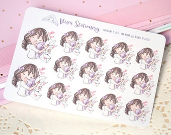 Kawaii Girl Happy Mail Stickers Version 1 ~Violet~ For your Life Planner, Diary, Journal, Scrapbook...