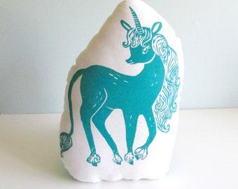 Unicorn Shaped Animal Pillow. Hand Woodblock Printed. Choose ANY colors. The Last Unicorn.