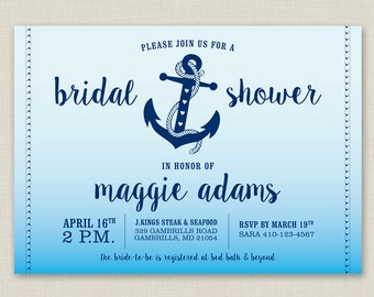 Printable / Anchor / Ombre / Watercolor / Nautical Bridal Shower Invitation
