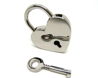Silver Heart Lock Key Set for Hand Bag Clutch Backpack - 1pc