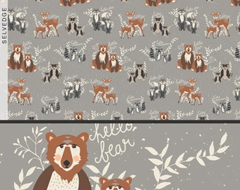 Oh, Hello Fog Grey - Hello, Bear Collection - Designer: Bonnie Christine - Art Gallery Fabrics - Premium Quilting Fabric - One Yard Fabric