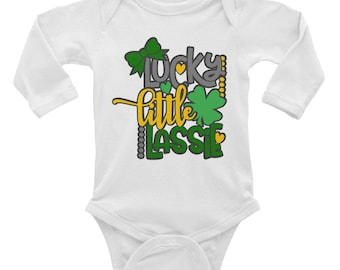 Lucky little lassie st patrick's day irish four leaf clover Infant Long Sleeve Bodysuit