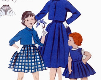 Vintage 1950s Girls Bolero Jacket, Pleated Skirt and Jumper Sewing Pattern Butterick 7465 50s Childrens Pattern Size 4