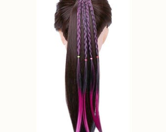 Colorful Braid With Elastic Hairband Ponytail Holder Synthetic Hair For Girls Teens And Women