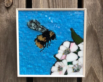 Bee on cherry blossoms - stained glass mosaic wall art