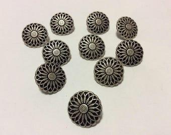 10 Vintage Matte Silver Metal Flower Shank Buttons, 17mm