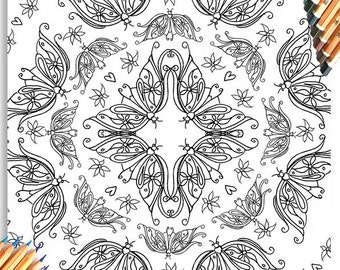 Adult Colouring Book Page - Butterfly Pattern