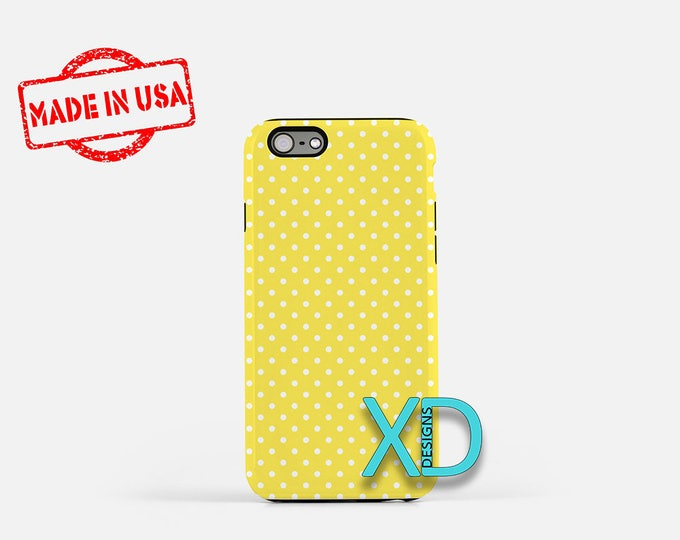 Pale Yellow Phone Case, Pale Yellow iPhone Case, Polka Dot iPhone 7 Case, White, Polka Dot iPhone 8 Case, Pale Yellow Tough Case, Clear Case