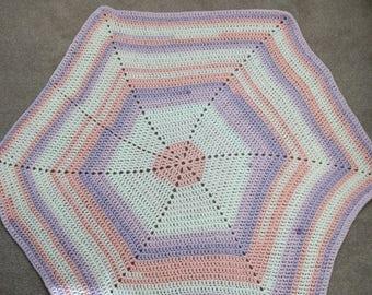 Beautiful multi-color hexagon baby blanket