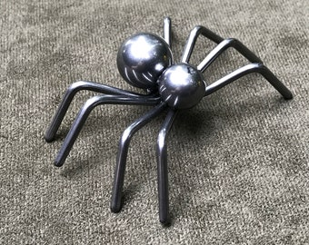 Small Black Metal Spider Sculpture