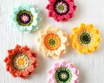 PDF Pattern - Candy Blossom Crochet Flower Pattern, Flower Crochet Pattern, Crochet Sunflower Pattern