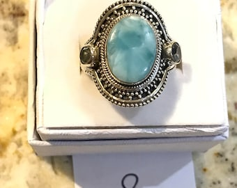 Larimar and Blue Topaz Ring Size 8