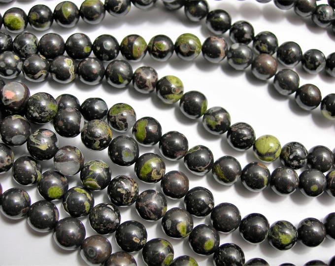 Black Rhyodacite -8 mm round beads - full strand - 49 beads - A quality - RFG1529