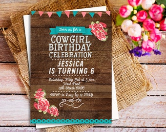 View kids birthday invites by happypartystudio on etsy wood cowgirl birthday invitation cowgirl party invite cowgirl country horse birthday invitation rustic filmwisefo Images
