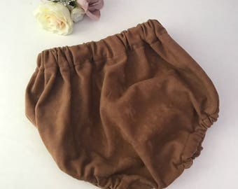 Handmade, baby girl, baby boy, vintage style, faux suede, tan, brown, bloomers, nappy cover, diaper cover, autumn
