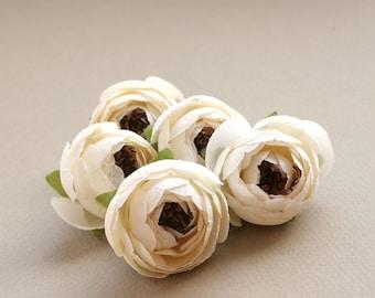 5 Ivory Cream Camillia Buds - Artificial Flowers, Silk Flowers