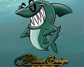 Shark Clipart, Hand Painted Clipart