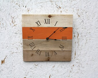 RUSTIC Pallet Wood Clock...Warm Orange Or CUSTOM Color. BCotta. Wedding  Gift. Housewarming. Reclaimed Wall Clock